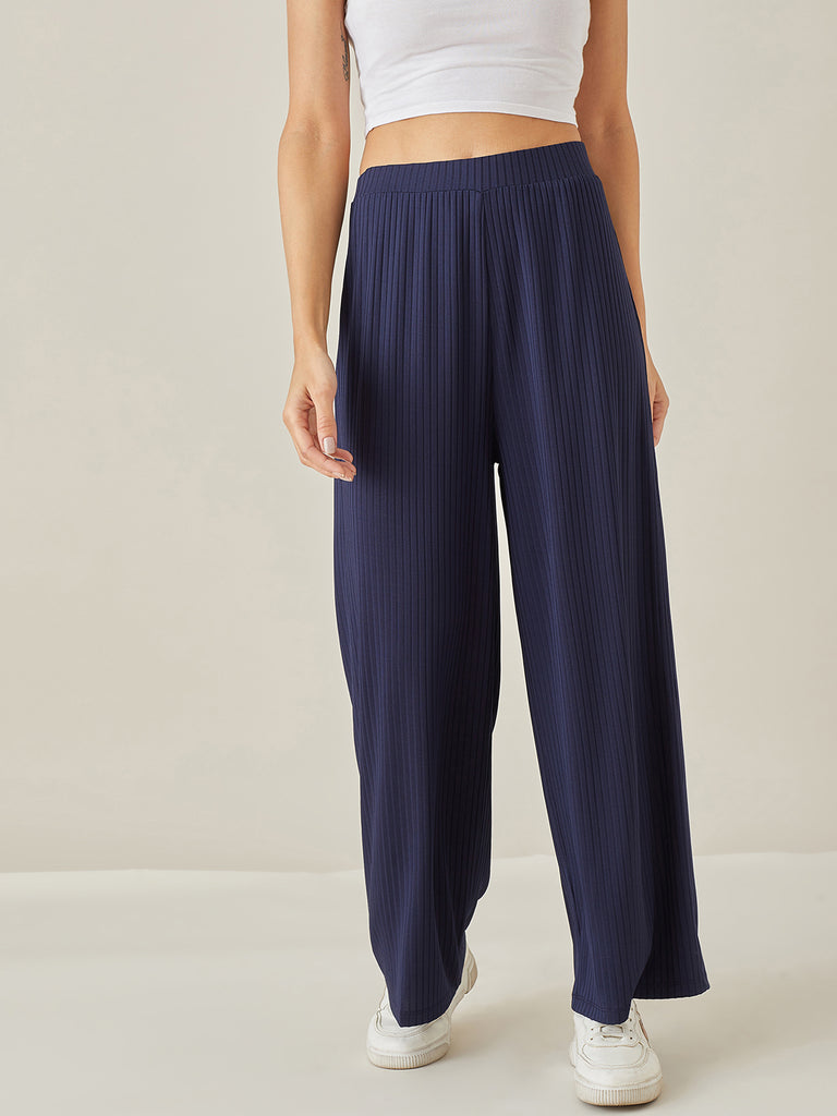 Navy Blue Ribbed Jersey Lounge Pants