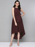 Wine Cotton Tie up Hi-Low Dress