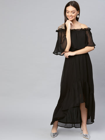 Black Cape Hi-Low Dress