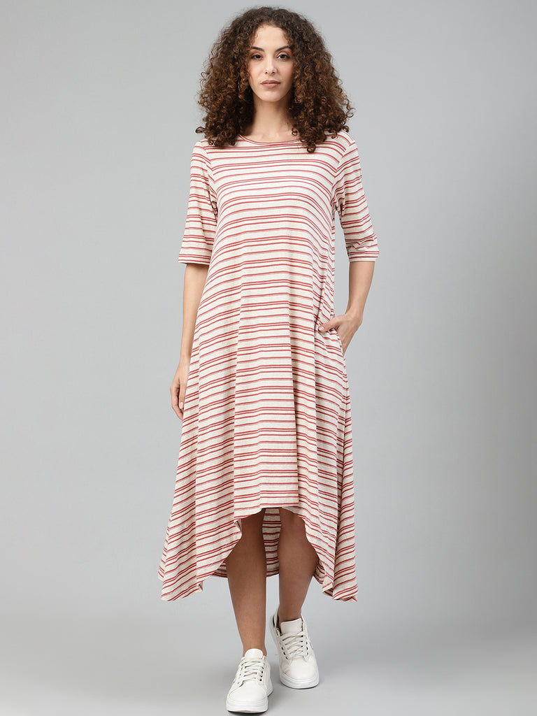 Blush striped High low dress