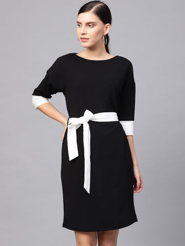 Black/white color block mini dress