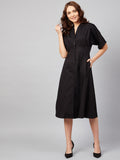 Black Cotton Lapel Detail Midi Dress