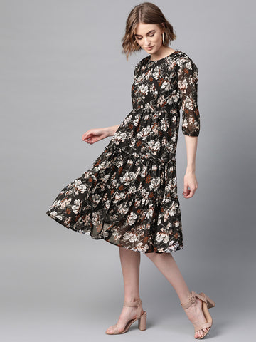 Black Floral Tiered Midi Dress