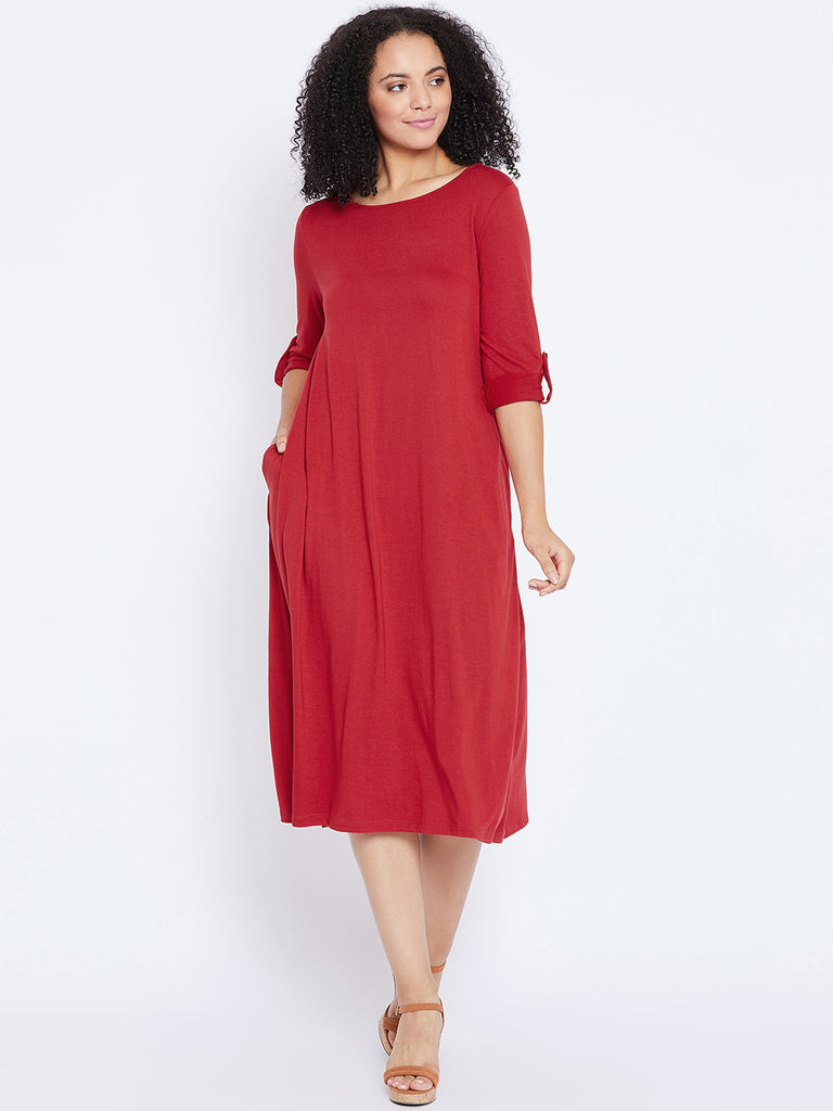 Red Tab Detail Midi Dress