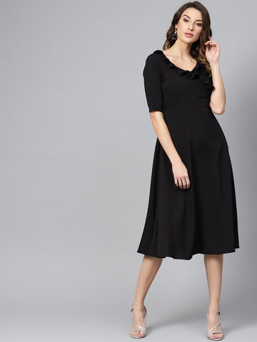Black Ruffled Tie-up Midi Dress