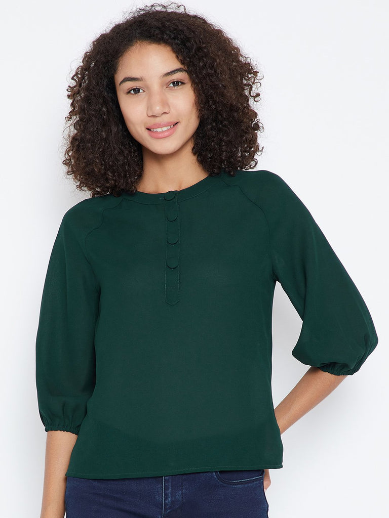 Green button down raglan top