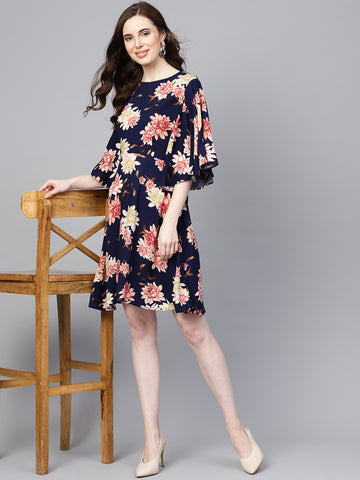 Navy Floral back cut-out mini dress