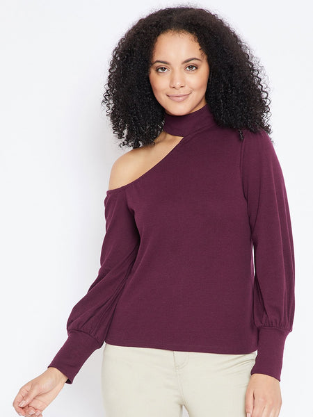 Wine one shoulder choker top