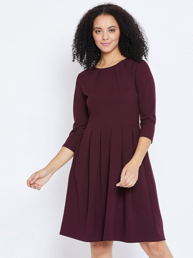Wine Pleated Fit and Flare dress