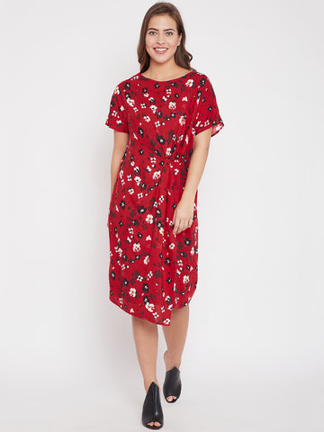 Red Printed front tuck dress