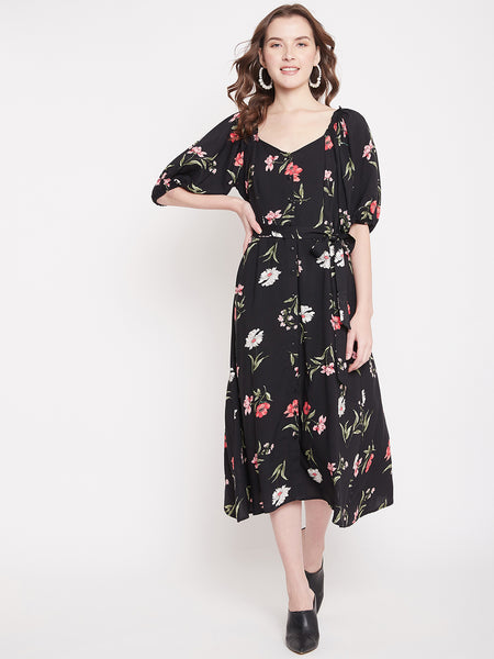 Black Floral Button Down Belted Midi Dress