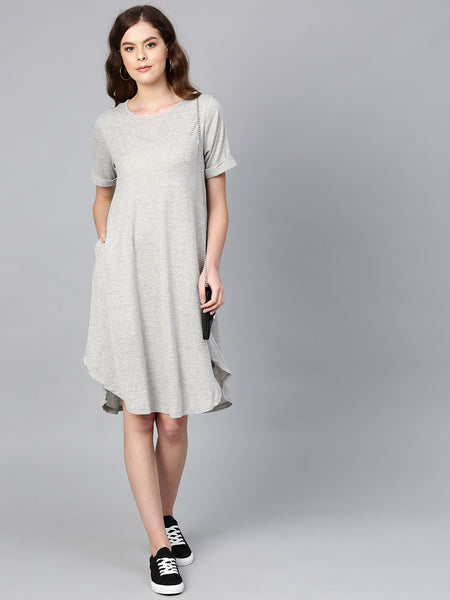 Grey Rolled Up Midi Dress