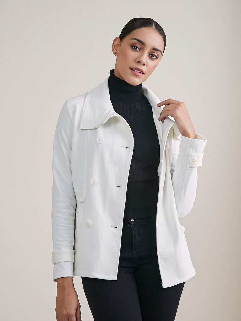 Off White Double Breasted Cotton Lycra Jacket