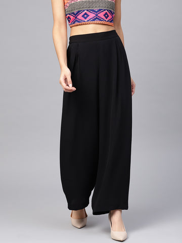 Black elasticated pleat detail pants
