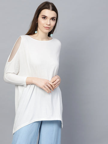 White Crinkle Cold Shoulder Top