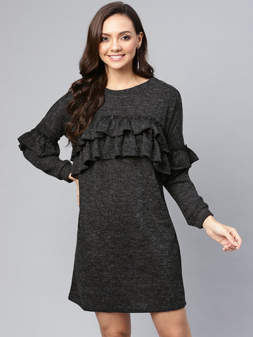 Black Melange Ruffle Sweatshirt Dress