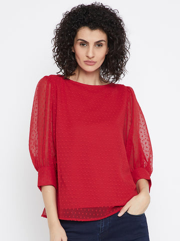 Red Dobby puffed sleeve top