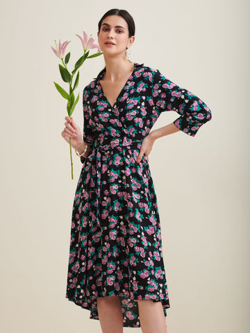 Black Floral Wrap Midi Dress