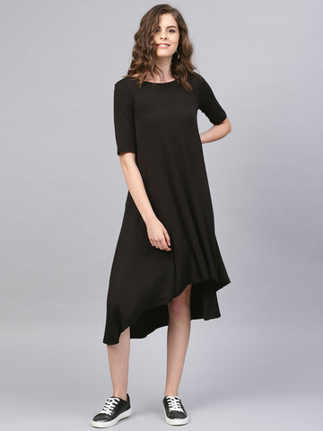 Black high low flared midi dress