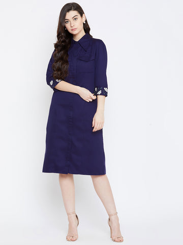 Navy Embroidered Cuff Midi Shirt Dress