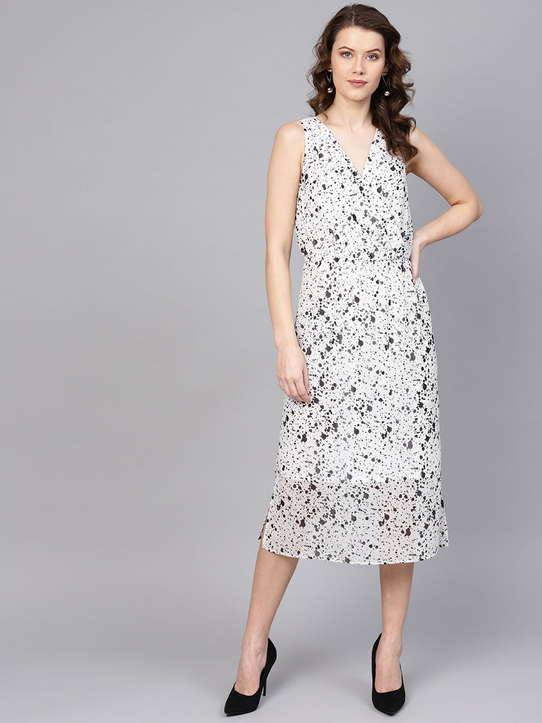 Splatter Polka Surplice Neck Midi Dress
