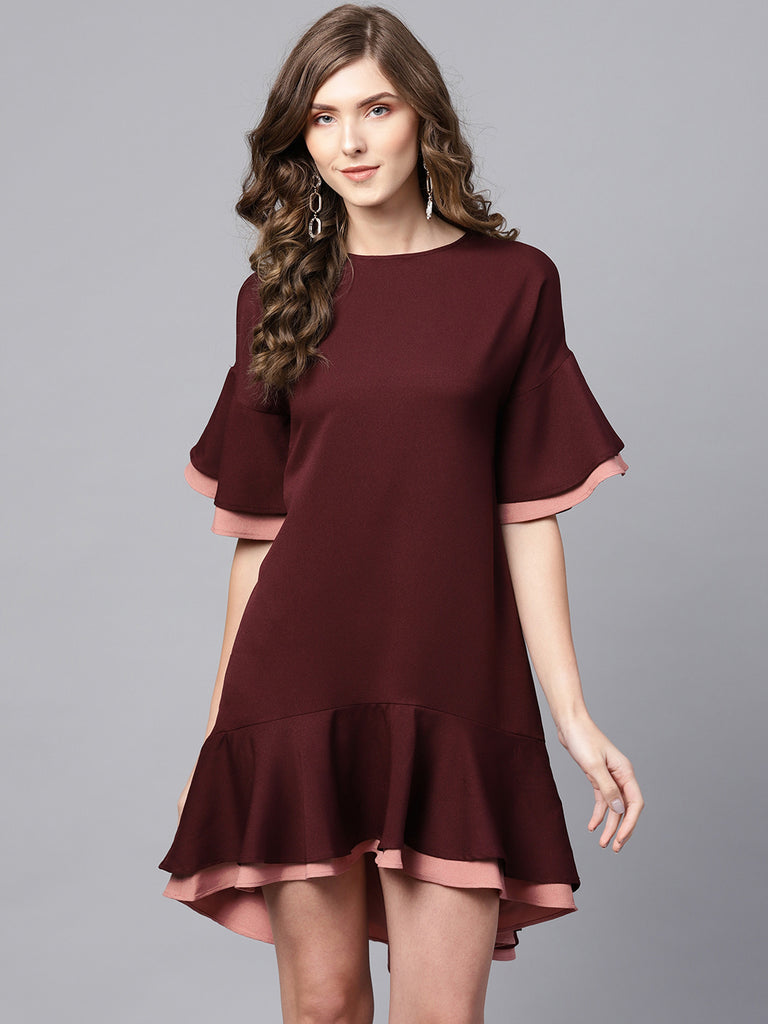 Wine/Blush Colorblock Mini Dress