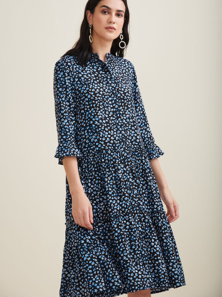Black Ditsy Button Down Tier Midi Dress