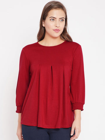Red Front Pleat Detail Top
