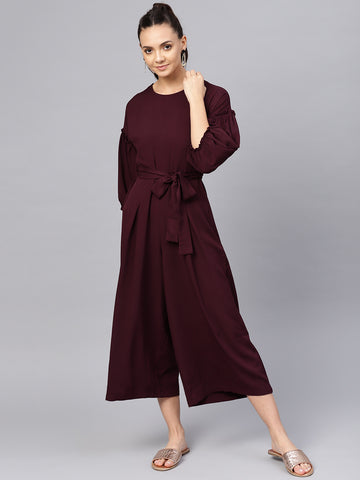 Wine Puffed Sleeve Ruffle Jumpsuit