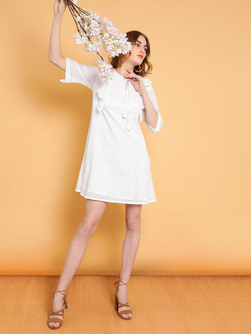 White Schiffli Ruffle Mini Dress