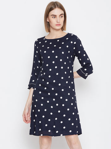 Navy/White Polka Piped Dress