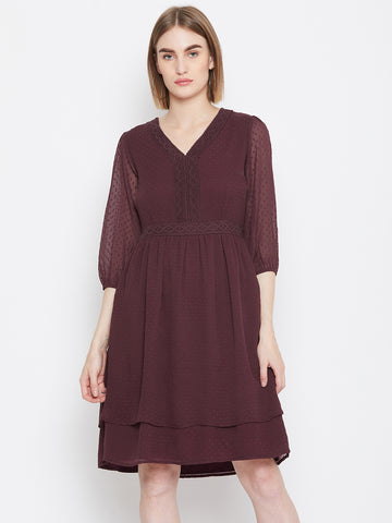 Wine Dobby Layered Dress