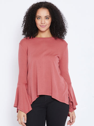 Blush handkerchief sleeve top