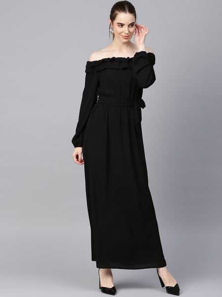 Black Off-shoulder Ruffle Maxi Dress