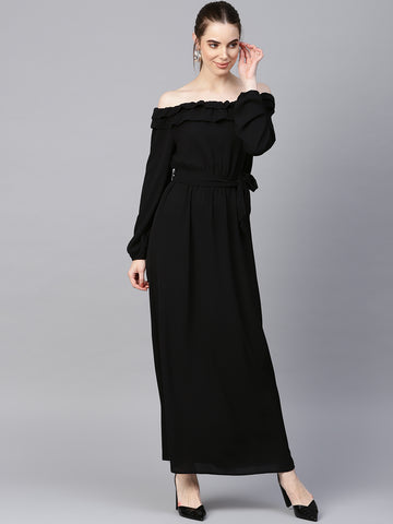 Black Off Shoulder Ruffle Maxi Dress