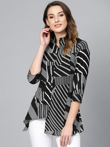 Black Abstract Stripe High-Low Tunic