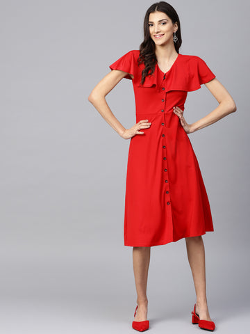 Red Cape Style Button Detail Dress