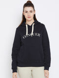 Navy conquer printed hoodie