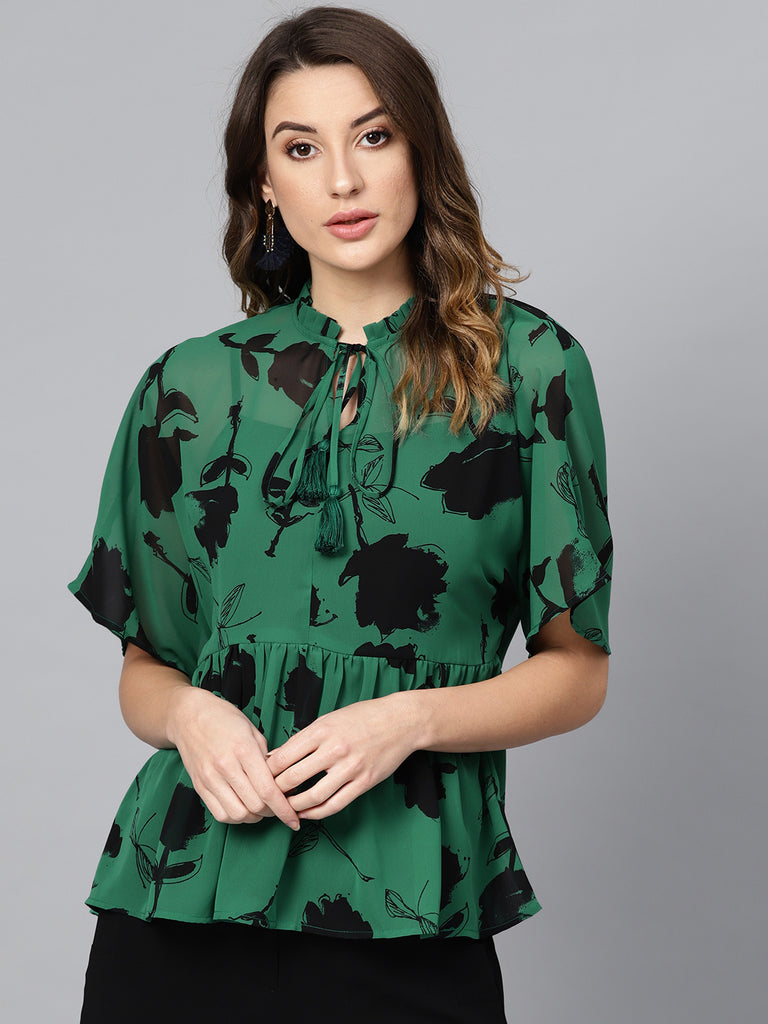 Green Floral Pleated Peplum Top