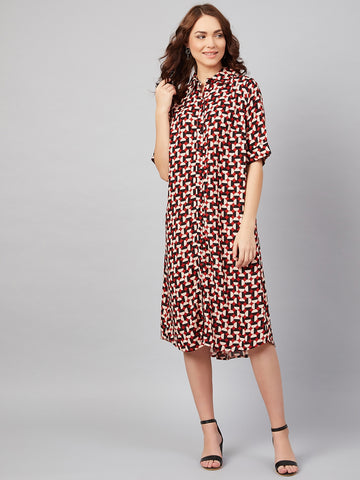 Retro Polka Oversized Midi Dress