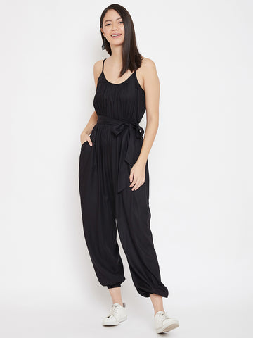 Black strappy flounced hem jumpsuit