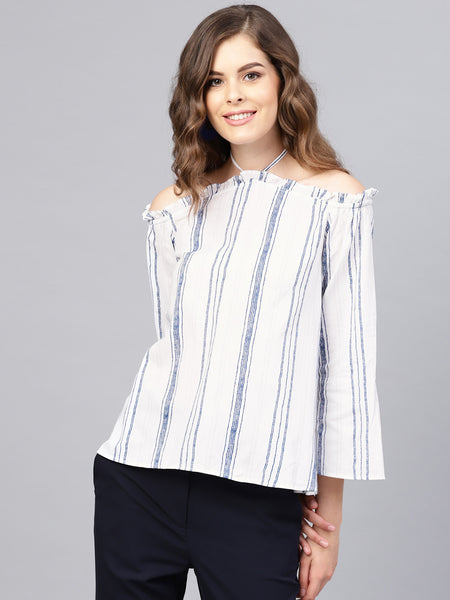 Blue Striped Halter Off Shoulder Top