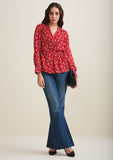 Red Floral Wrap Pleated Top