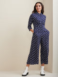 Jumpsuit In Elephant Print Twill And Moss Polka