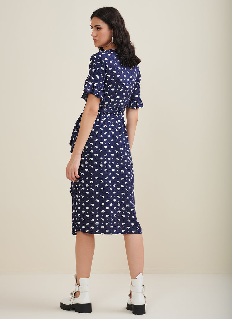 Blue Elephant  Printed Wrap Dress