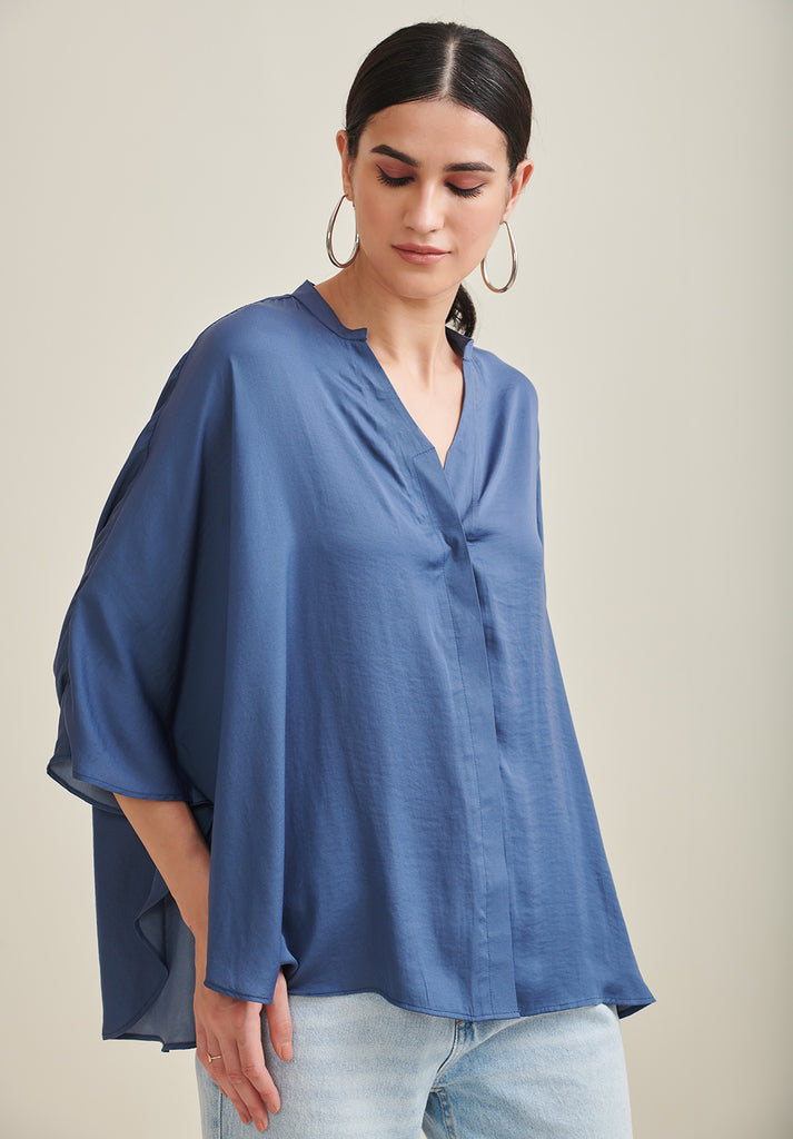 Blue Satin Oversized Shirt