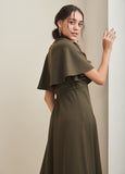 Olive Wrap Formal Maxi Dress