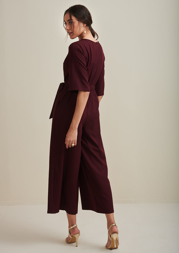 Wine Button Down Flared Jumpsuit