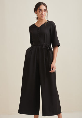 Black Button Down Flared Jumpsuit