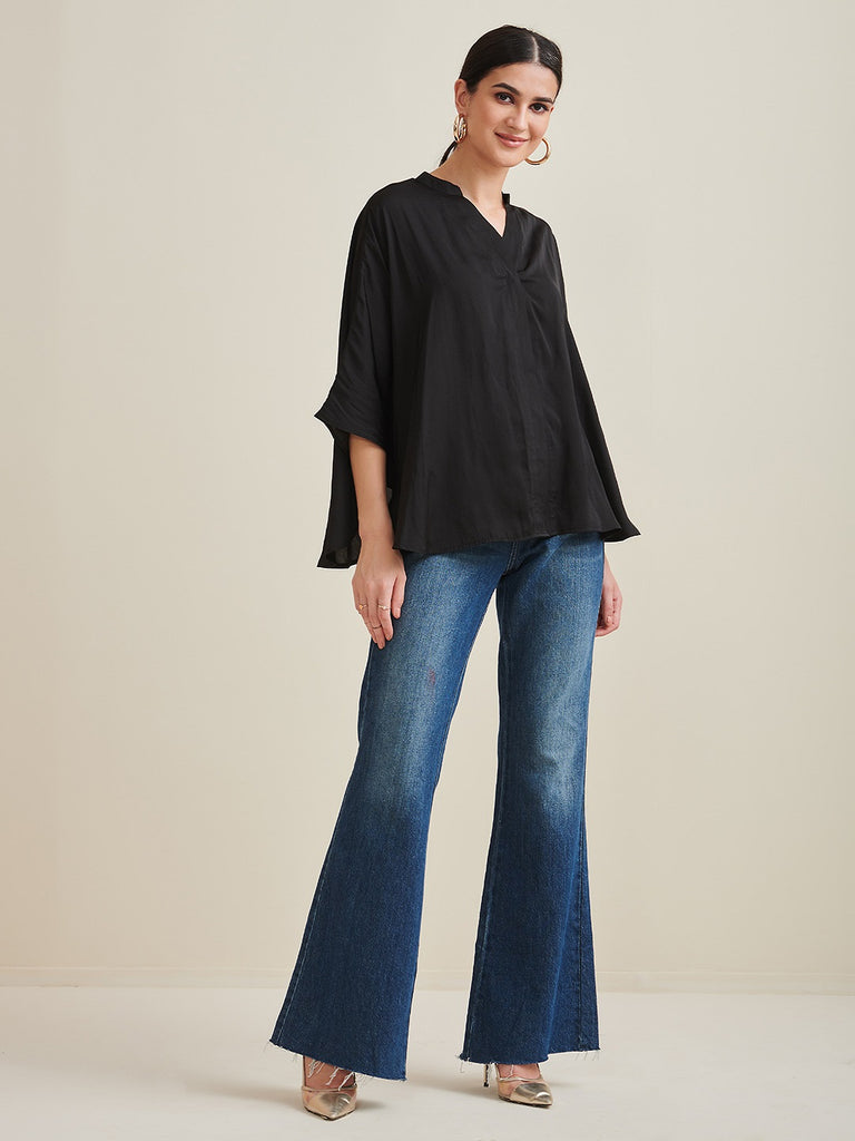 Black Satin Oversized Shirt